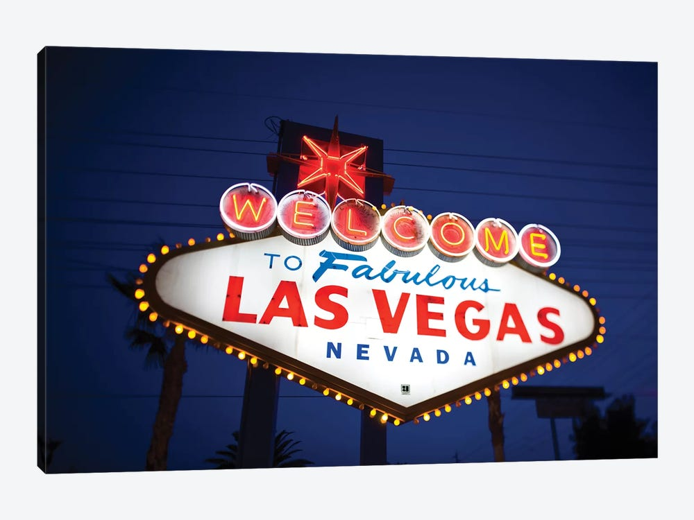 """The """"Welcome To Fabulous Las Vegas"""" Sign At Night, Paradise, Clark County, Nevada, USA by Walter Bibikow 1-piece Canvas Artwork"""