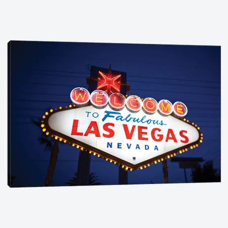 "The ""Welcome To Fabulous Las Vegas"" Sign At Night, Paradise, Clark County, Nevada, USA Canvas Print #WBI55} by Walter Bibikow Canvas Art Print"