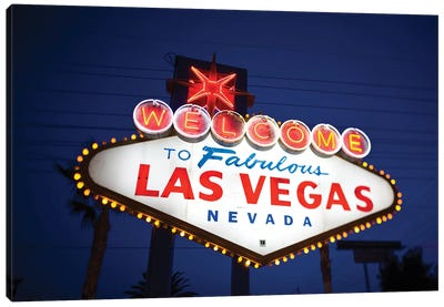 """The """"Welcome To Fabulous Las Vegas"""" Sign At Night, Paradise, Clark County, Nevada, USA Canvas Art Print"""