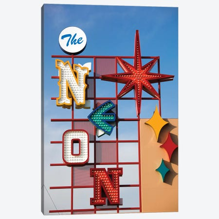 The Neon Boneyard Park Sign In Zoom, Neon Museum, North Las Vegas, Clark County, Nevada, USA Canvas Print #WBI58} by Walter Bibikow Canvas Wall Art