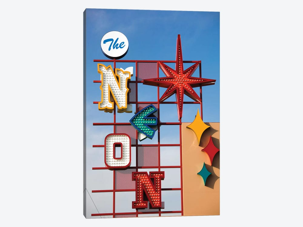 The Neon Boneyard Park Sign In Zoom, Neon Museum, North Las Vegas, Clark County, Nevada, USA by Walter Bibikow 1-piece Canvas Art Print