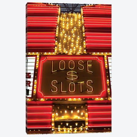 Neon Loose Slots Sign, Marquee, Sam Boyd's Fremont Hotel & Casino, Downtown Las Vegas, Nevada, USA Canvas Print #WBI59} by Walter Bibikow Canvas Art
