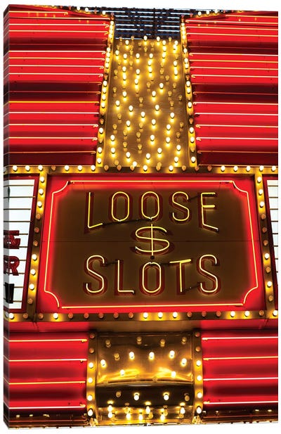 Neon Loose Slots Sign, Marquee, Sam Boyd's Fremont Hotel & Casino, Downtown Las Vegas, Nevada, USA Canvas Print #WBI59