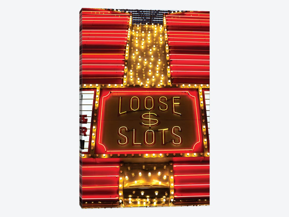 Neon Loose Slots Sign, Marquee, Sam Boyd's Fremont Hotel & Casino, Downtown Las Vegas, Nevada, USA by Walter Bibikow 1-piece Canvas Art