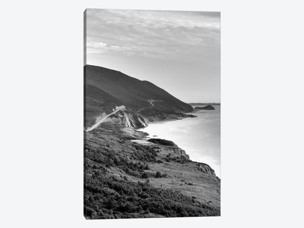 Coastal Landscape In B&W, Cap-Rouge, Cape Breton Island, Nova Scotia, Canada by Walter Bibikow 1-piece Canvas Wall Art