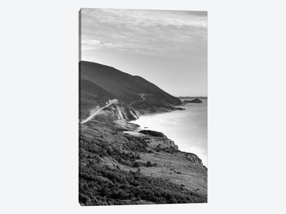 Coastal Landscape In B&W, Cap-Rouge, Cape Breton Island, Nova Scotia, Canada by Walter Bibikow 1-piece Canvas Wall Art