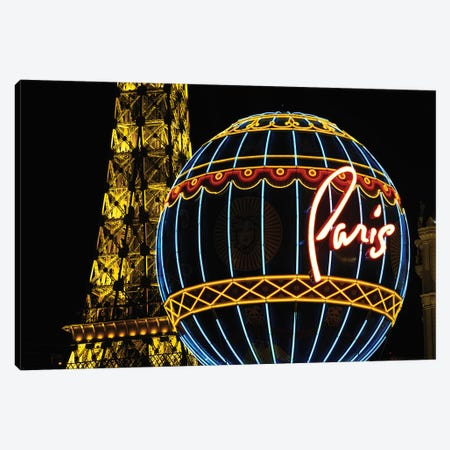 Neon Montgolfier Balloon And Eiffel Tower Statues, Paris Las Vegas, Paradise, Nevada, USA Canvas Print #WBI60} by Walter Bibikow Canvas Art Print