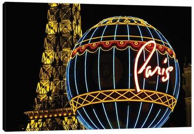 Neon Montgolfier Balloon And Eiffel Tower Statues, Paris Las Vegas, Paradise, Nevada, USA Canvas Art Print