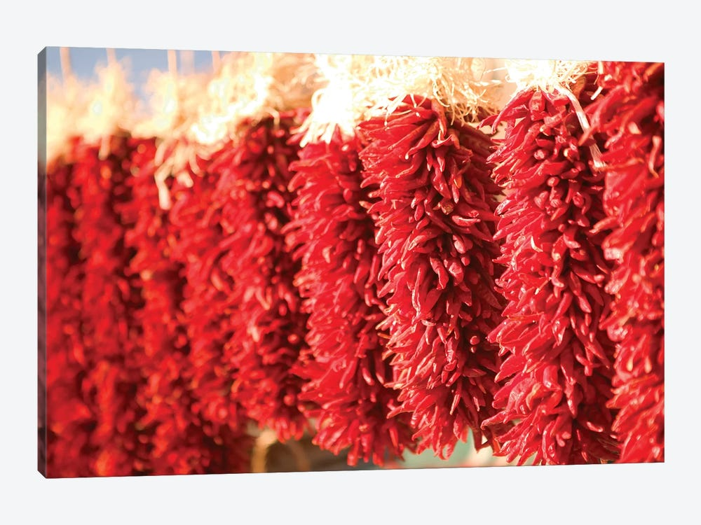 Chili Pepper Ristras, Downtown, Santa Fe, New Mexico, USA by Walter Bibikow 1-piece Canvas Print