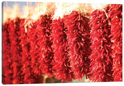 Chili Pepper Ristras, Downtown, Santa Fe, New Mexico, USA Canvas Art Print