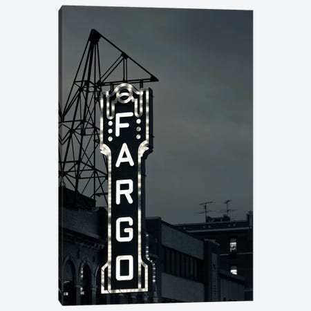 Neon Sign In B&W, Fargo Theatre, Fargo, Cass County, North Dakota, USA Canvas Print #WBI68} by Walter Bibikow Canvas Print