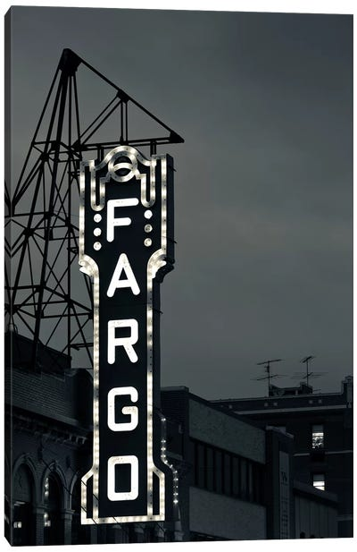 Neon Sign In B&W, Fargo Theatre, Fargo, Cass County, North Dakota, USA Canvas Art Print