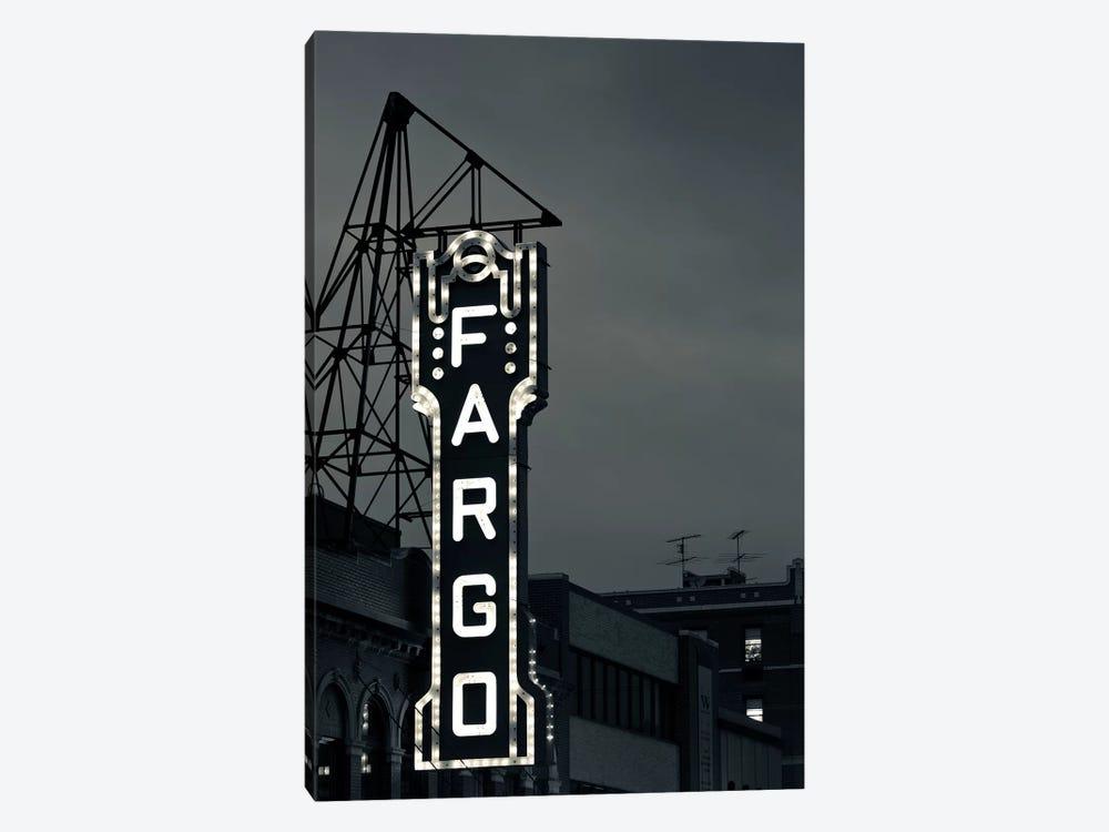 Neon Sign In B&W, Fargo Theatre, Fargo, Cass County, North Dakota, USA by Walter Bibikow 1-piece Canvas Art