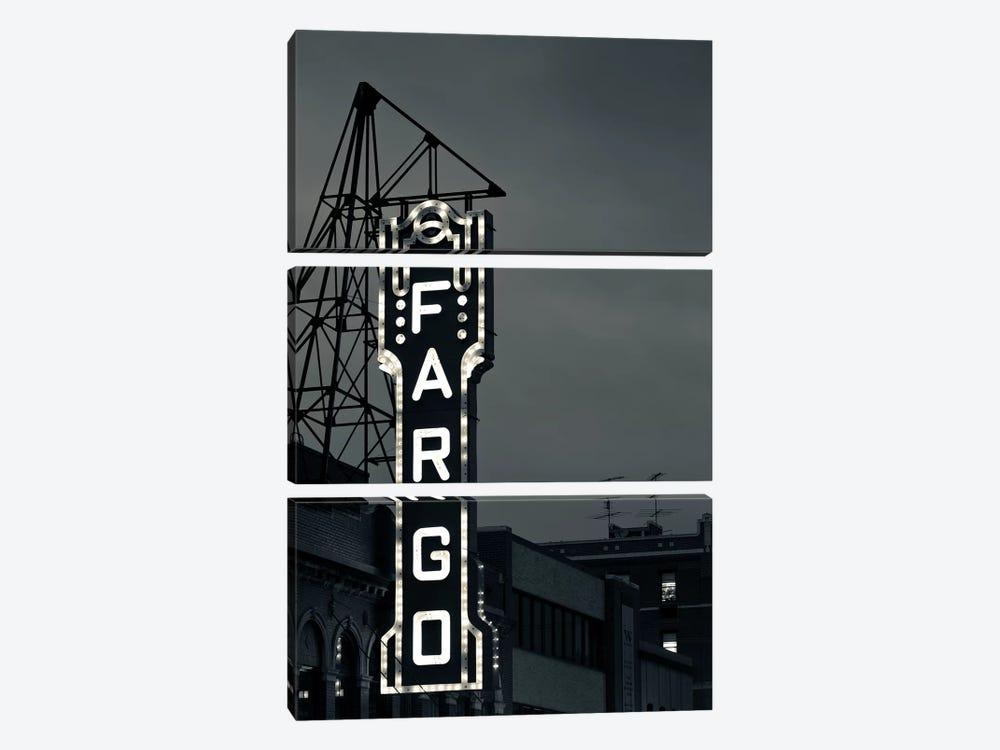 Neon Sign In B&W, Fargo Theatre, Fargo, Cass County, North Dakota, USA by Walter Bibikow 3-piece Canvas Wall Art