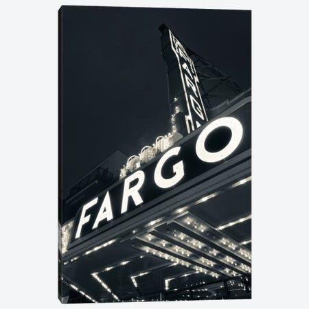 Low-Angle View Of Marquee & Neon Sign In B&W, Fargo Theatre, Fargo, Cass County, North Dakota, USA Canvas Print #WBI70} by Walter Bibikow Canvas Wall Art