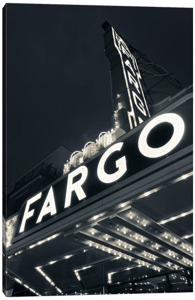 Low-Angle View Of Marquee & Neon Sign In B&W, Fargo Theatre, Fargo, Cass County, North Dakota, USA Canvas Art Print