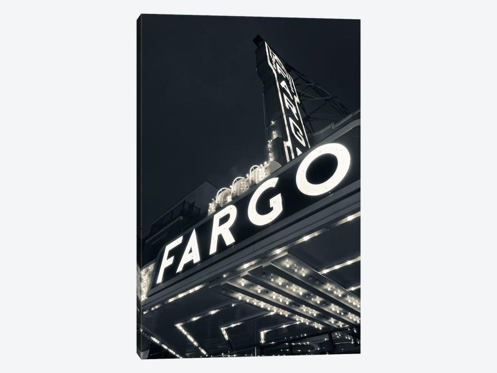 Low-Angle View Of Marquee & Neon Sign In B&W, Fargo Theatre, Fargo, Cass County, North Dakota, USA by Walter Bibikow 1-piece Canvas Art Print