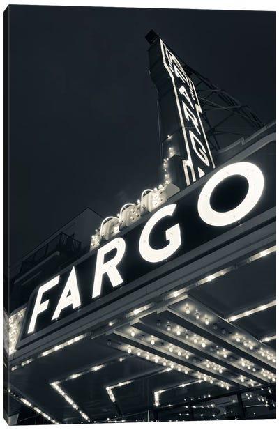 Low-Angle View Of Marquee & Neon Sign In B&W, Fargo Theatre, Fargo, Cass County, North Dakota, USA Canvas Art Print