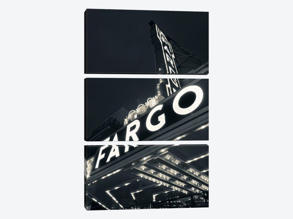Low-Angle View Of Marquee & Neon Sign In B&W, Fargo Theatre, Fargo, Cass County, North Dakota, USA by Walter Bibikow 3-piece Art Print
