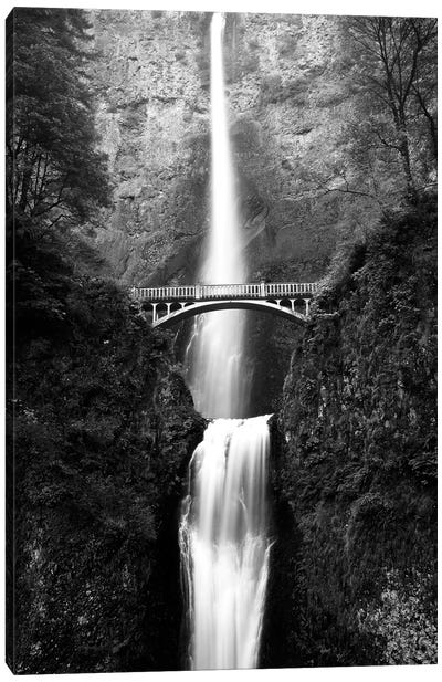 Benson Footbridge In B&W, Multnomah Falls, Columbia River Gorge, Oregon, USA Canvas Art Print
