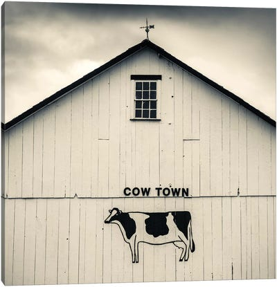 """Cow Town"" Barn Signage, Bird-In-Hand, Lancaster County, Pennsylvania Dutch Country, Pennsylvania, USA Canvas Print #WBI72"