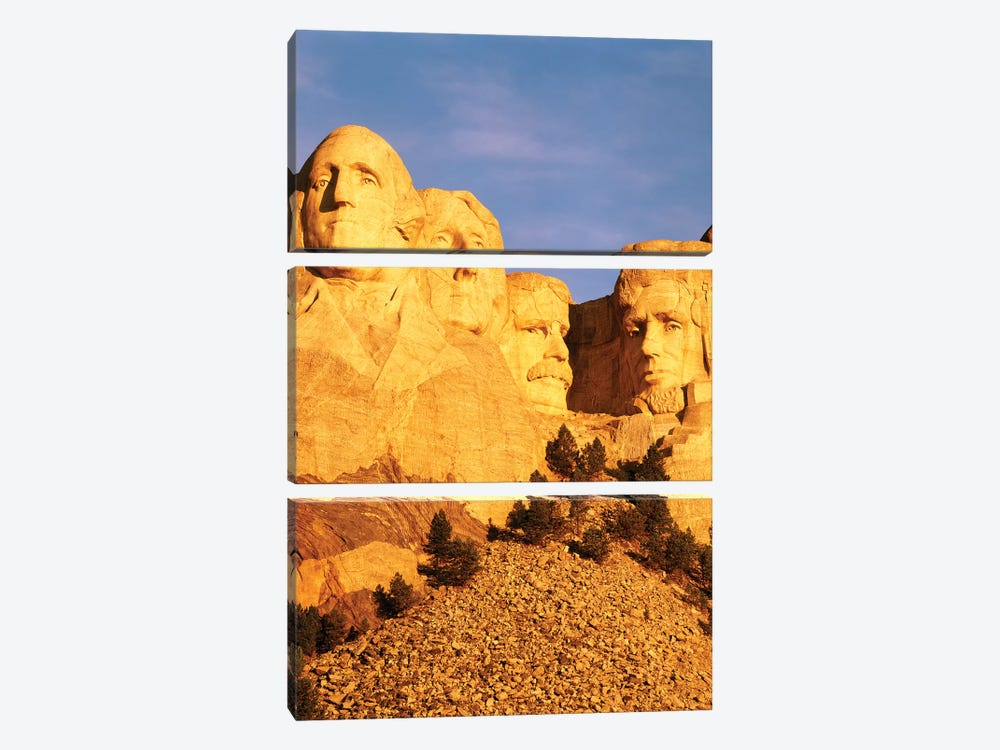 First Light Over Mount Rushmore National Memorial, Pennington County, South Dakota, USA by Walter Bibikow 3-piece Canvas Wall Art