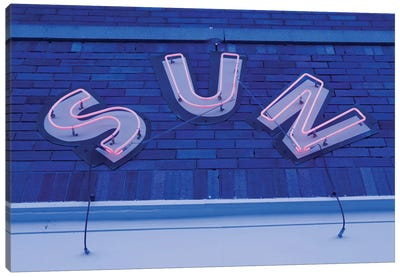 Neon Sign At Twilight, Sun Studios, Memphis, Shelby County, Tennessee, USA Canvas Art Print