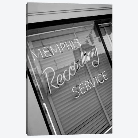Neon Window Sign, Memphis Recording Service, Memphis, Shelby County, Tennessee, USA Canvas Print #WBI77} by Walter Bibikow Canvas Print