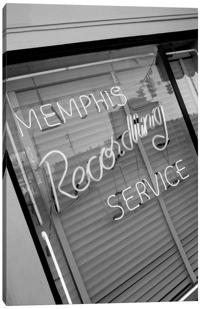 Neon Window Sign, Memphis Recording Service, Memphis, Shelby County, Tennessee, USA Canvas Art Print