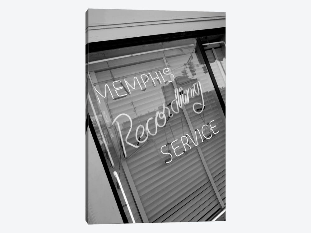 Neon Window Sign, Memphis Recording Service, Memphis, Shelby County, Tennessee, USA by Walter Bibikow 1-piece Canvas Wall Art