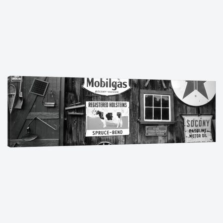 Vintage Americana On The Exterior Of An Old Building, Chester, Windsor County, Vermont, USA Canvas Print #WBI78} by Walter Bibikow Canvas Artwork