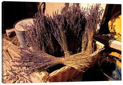 Lavender Bunches For Sale, Les Baux-de-Provence, Bouches-du-Rhone, Provence-Alpes-Cote d'Azur, France Canvas Art Print
