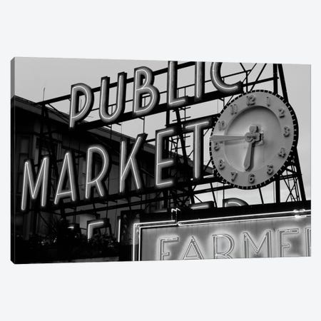 Public Market Center & Farmers Market Neon Signs In Zoom, Pike Place Market, Seattle, Washington, USA Canvas Print #WBI80} by Walter Bibikow Canvas Print