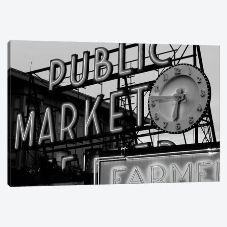 Public Market Center & Farmers Market Neon Signs In Zoom, Pike Place Market, Seattle, Washington, USA Canvas Print #WBI80} by Walter Bibikow Canvas Print