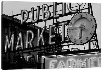 Public Market Center & Farmers Market Neon Signs In Zoom, Pike Place Market, Seattle, Washington, USA Canvas Art Print