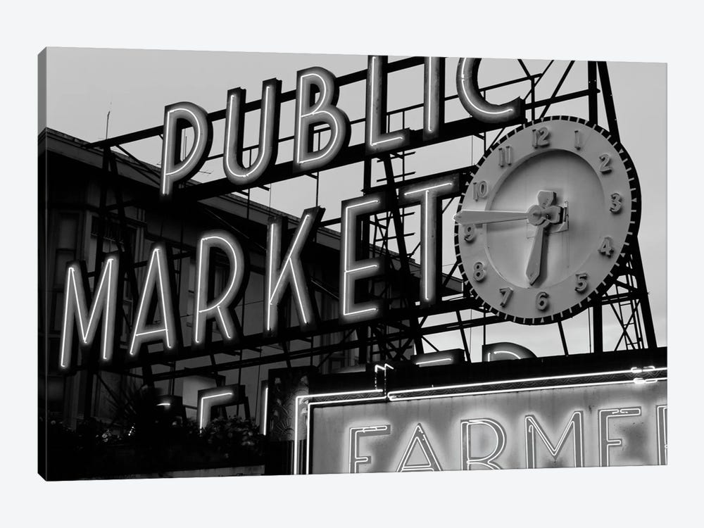 Public Market Center & Farmers Market Neon Signs In Zoom, Pike Place Market, Seattle, Washington, USA by Walter Bibikow 1-piece Canvas Wall Art