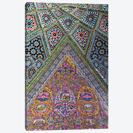 Iran, Shiraz, Nasir-Al Molk Mosque, Exterior Tilework Canvas Print #WBI85} by Walter Bibikow Canvas Wall Art
