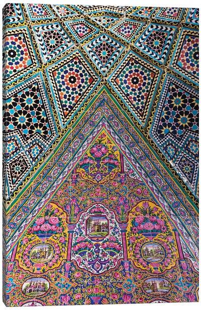Iran, Shiraz, Nasir-Al Molk Mosque, Exterior Tilework Canvas Art Print