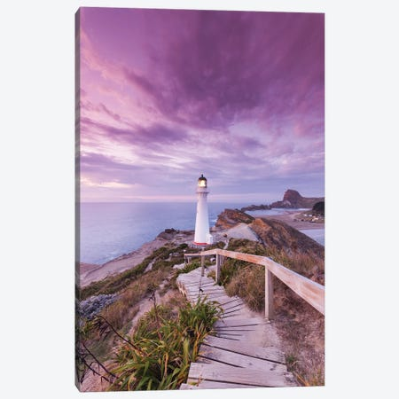 New Zealand, North Island, Castlepoint. Castlepoint Lighthouse I Canvas Print #WBI92} by Walter Bibikow Canvas Art