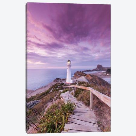 New Zealand, North Island, Castlepoint. Castlepoint Lighthouse I Canvas Print #WBI92} by Walter Bibikow Canvas Art