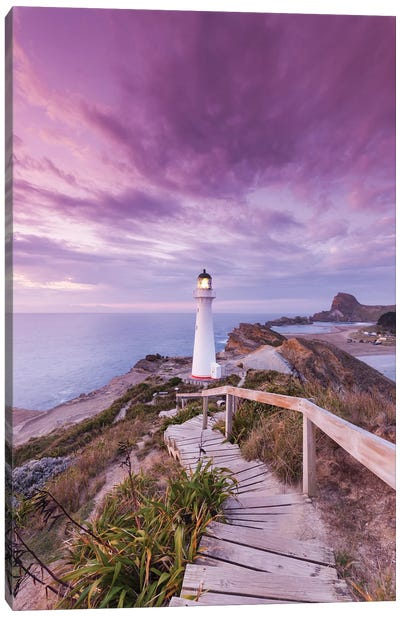New Zealand, North Island, Castlepoint. Castlepoint Lighthouse I Canvas Art Print