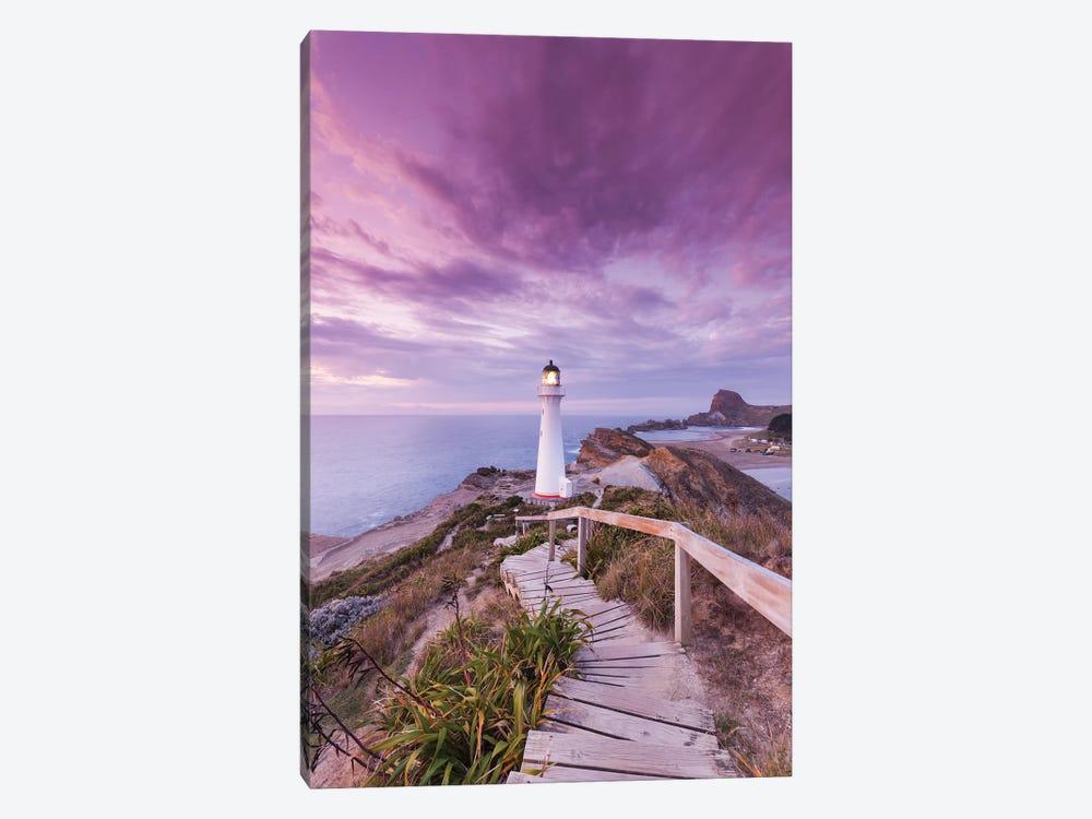 New Zealand, North Island, Castlepoint. Castlepoint Lighthouse I by Walter Bibikow 1-piece Canvas Art Print