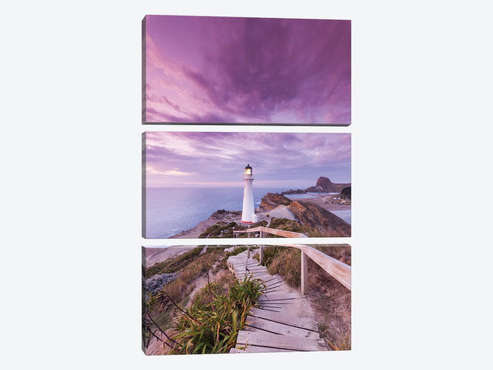 New Zealand, North Island, Castlepoint. Castlepoint Lighthouse I by Walter Bibikow 3-piece Canvas Print