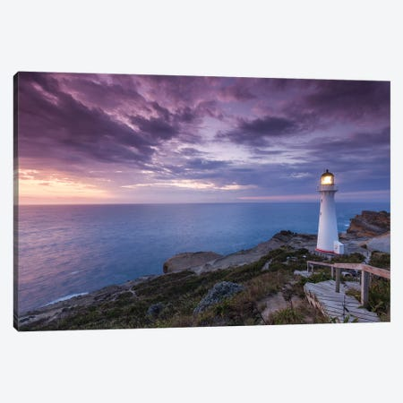 New Zealand, North Island, Castlepoint. Castlepoint Lighthouse II Canvas Print #WBI93} by Walter Bibikow Canvas Artwork