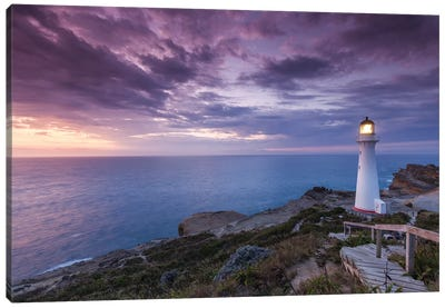 New Zealand, North Island, Castlepoint. Castlepoint Lighthouse II Canvas Art Print