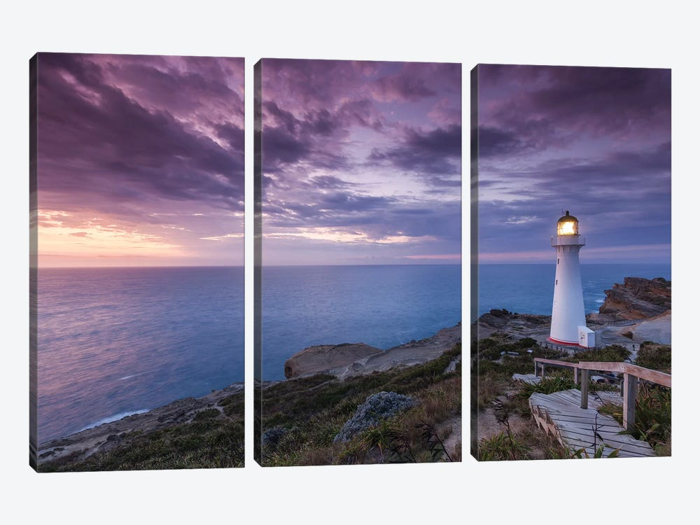 New Zealand, North Island, Castlepoint. Castlepoint Lighthouse II by Walter Bibikow 3-piece Canvas Artwork
