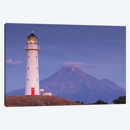 New Zealand, North Island, Pungarehu. Cape Egmont Lighthouse and Mt. Taranaki I Canvas Print #WBI94} by Walter Bibikow Canvas Print