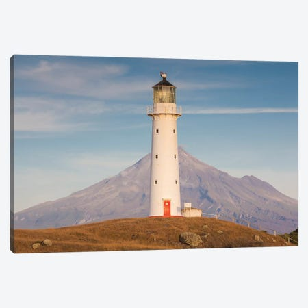 New Zealand, North Island, Pungarehu. Cape Egmont Lighthouse and Mt. Taranaki II Canvas Print #WBI95} by Walter Bibikow Canvas Print