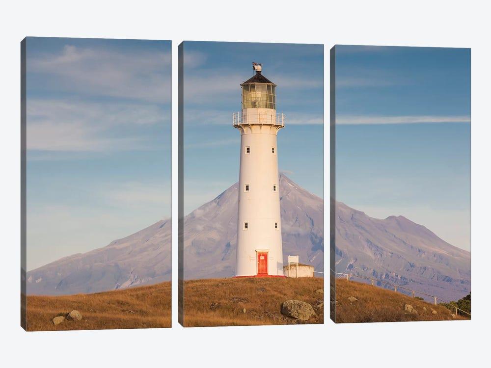 New Zealand, North Island, Pungarehu. Cape Egmont Lighthouse and Mt. Taranaki II by Walter Bibikow 3-piece Canvas Art