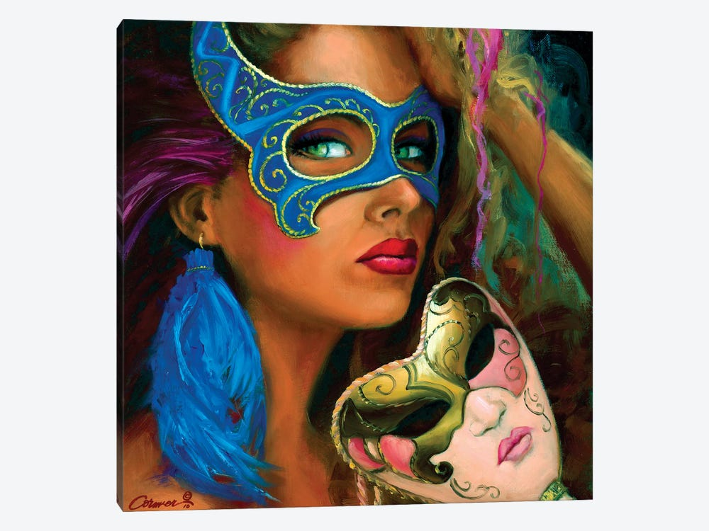 Le Masque Bleu by Wil Cormier 1-piece Canvas Art Print